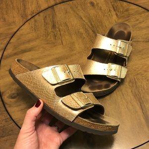 Rose gold double strap Birkenstock sandals